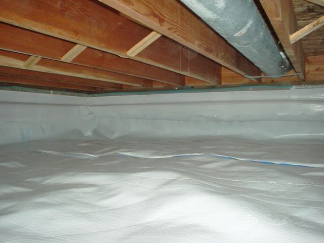 a moisture barrier installed on the walls and floors of a crawl space  in Monroe. Crawl Space Repair   Encapsulation in Washington   Moisture Vapor