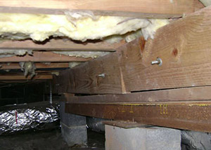 A sagging crawl space with concrete supports and wooden shimming a Mill Creek crawl space