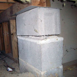 Collapsing crawl space support pillars Friday Harbor