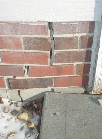 Severe street creep damage to a garage wall outside a Sedro Woolley home
