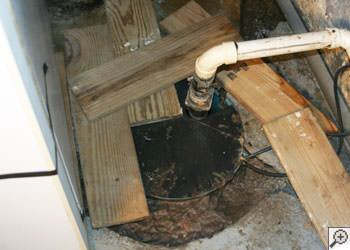 An ugly, clogged sump pump system in Mount Vernon, Washington
