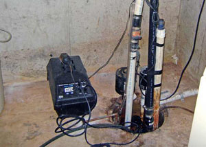 Pedestal sump pump system installed in a home in Mill Creek
