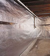Radiant heat barrier and vapor barrier for finished basement walls in Snohomish, Washington